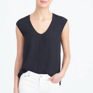 J. Crew Cap-sleeve Shirttail Top in Black